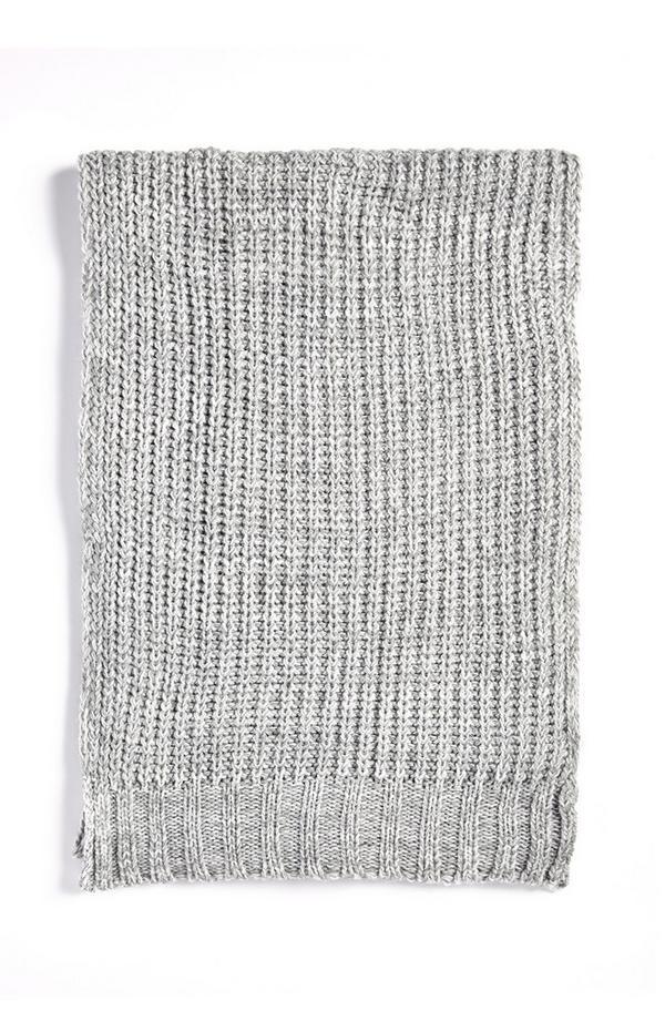 Grijze gemêleerde grofgebreide sjaal