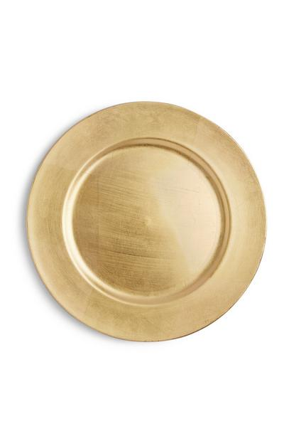 Assiette de table dorée