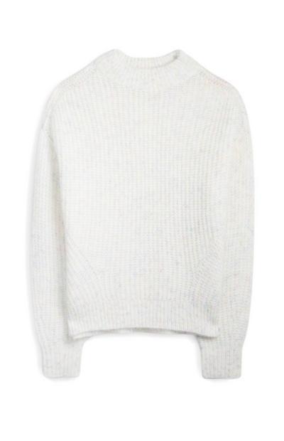 Camisola gola subida canelada branco