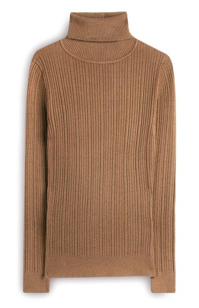 Camel Brushed Roll Neck Jumper