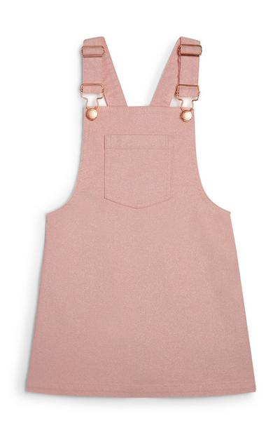 Younger Girl Pink Overall Dress