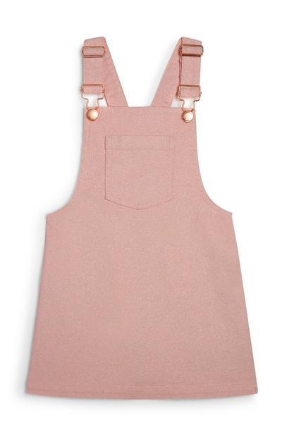 Rožnata obleka z naramnicami za mlajša dekleta