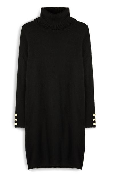 Vestido gola alta preto