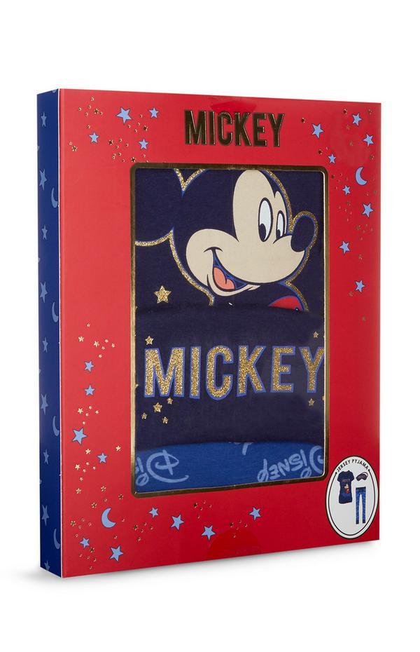 Caixa oferta pijama malha Mickey e Minnie com máscara olhos