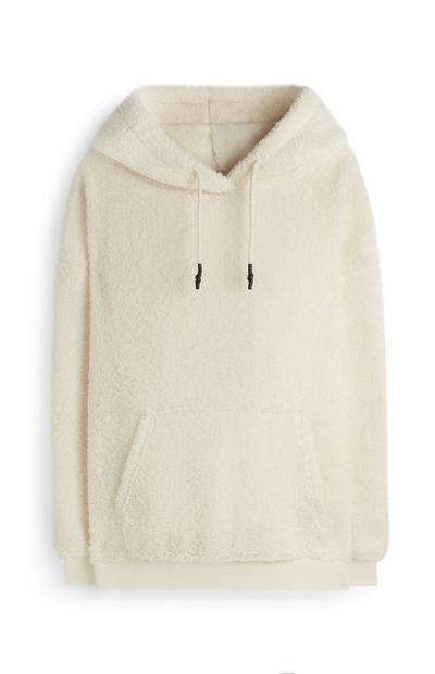 Krem pulover s kapuco