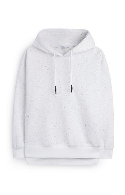 Ivoorwitte hoodie met zijsplitten