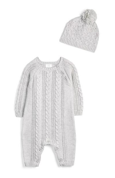 Newborn Boy Grey Knitted Onesie And Hatjpg