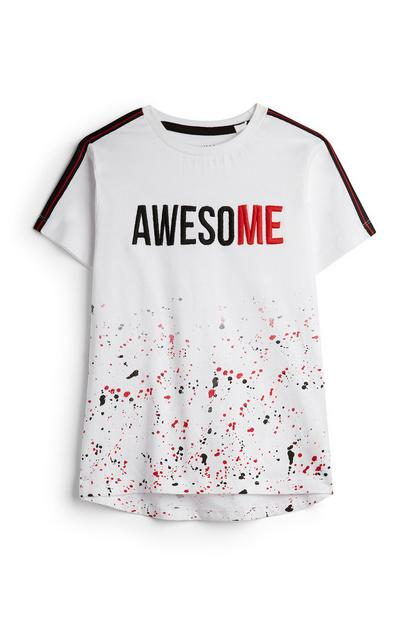 Younger Boy Awesome White Paint Splatter Short Sleeve T-Shirt