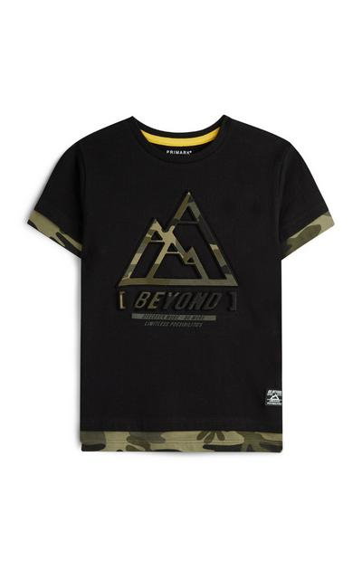 Younger Boy Camo Slogan T-Shirt