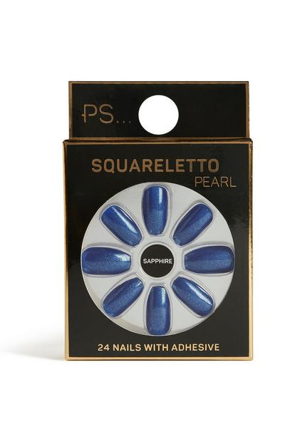 Saffierblauwe kunstnagels squareletto pearl