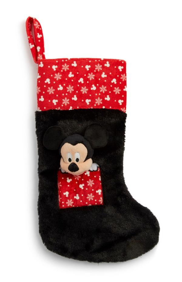 Mickey Mouse Fluffy Black And Red Stocking