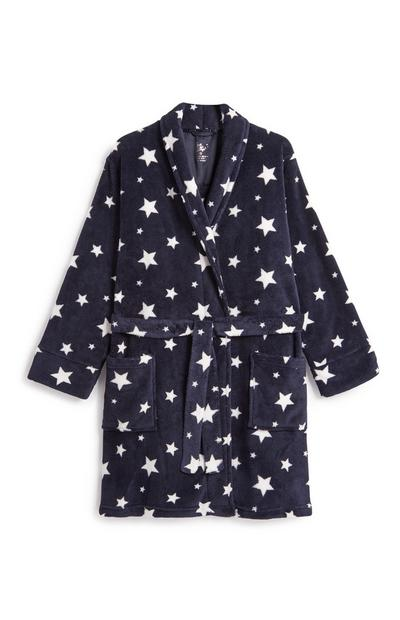 Navy Star Print Dressing Gown