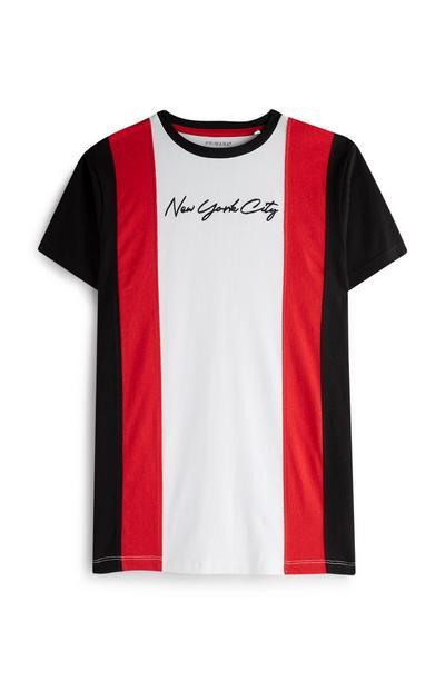 Majica z vertikalnimi črtami in s kratkimi rokavi za starejše fante