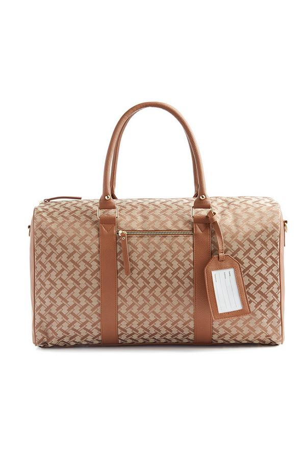 Reisetasche mit hellbraunem Kachelmuster