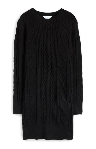 Zwarte gebreide jurk met kabelmotief