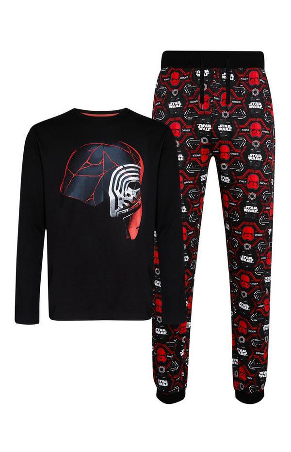 Rood-zwarte pyjamatop en -broek met Star Wars-print