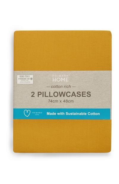 Conjunto de 2 fundas de almohada sostenibles color mostaza