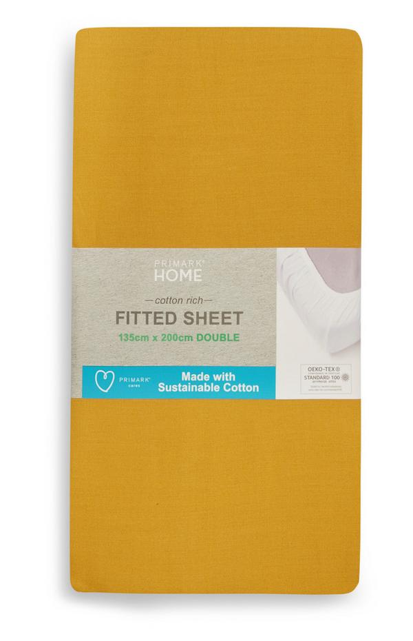Mustard Double Fitted Sheet