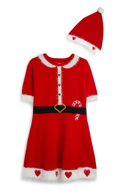 Vestido de Papá Noel de niña mayor