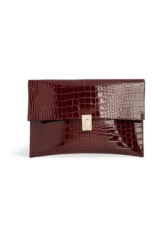 Burgundy Snake Print Bag