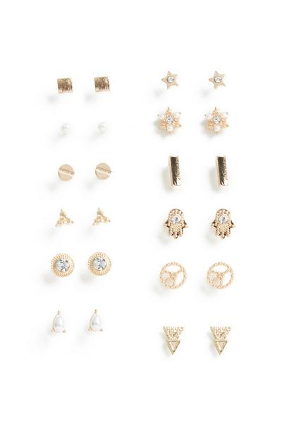 12-Pack Stud Earrings