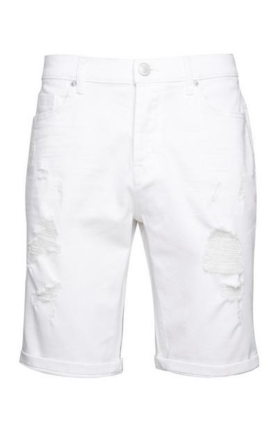 Short blanc déchiré