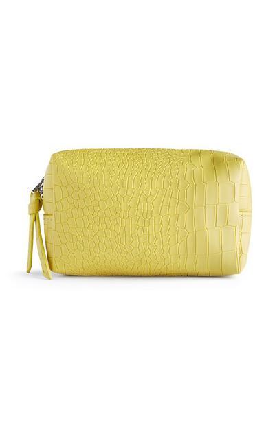 Yellow Croc Makeup Bag