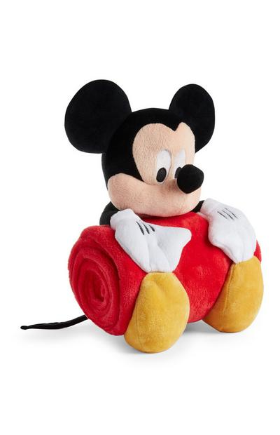 Peluche Mickey Mouse avec jeté de lit rouge