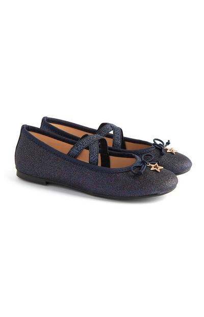 Younger Girl Navy Sparkly Ballerina Shoes With Star Pendant