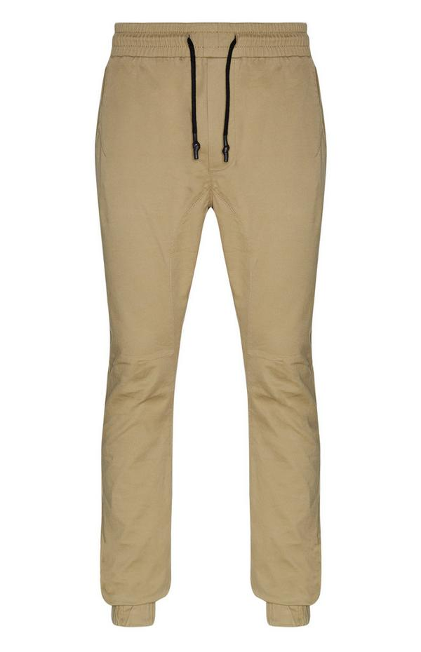 Light Brown Cuffed Ankle Cargo Jogging Pants