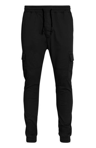 Cuffed Black Cargo Trousers