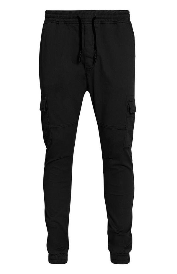 Pantaloni neri cargo con elastico sul fondo