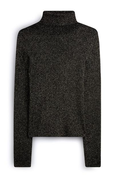 Jersey de cuello vuelto con purpurina negro