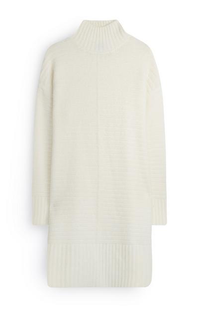 Cream Mock Neck Knit Dress