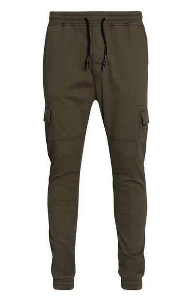 Cuffed Khaki Cargo Trousers