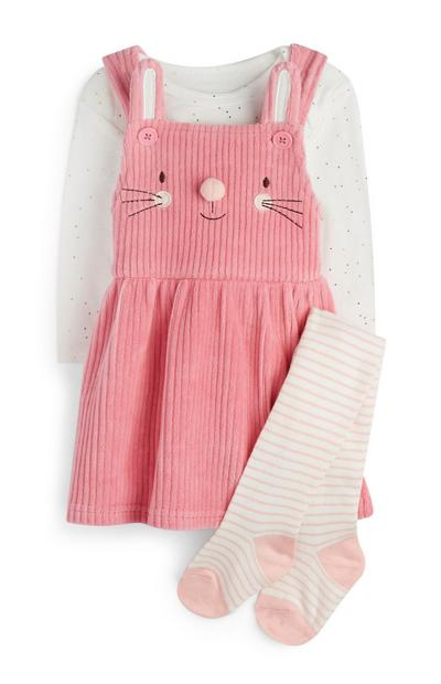 Newborn Girl Pink Corduroy Pinafore With Tights