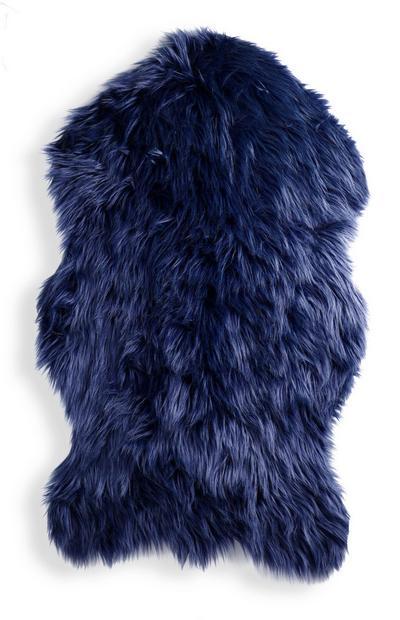 Blue Faux Sheep Skin Throw