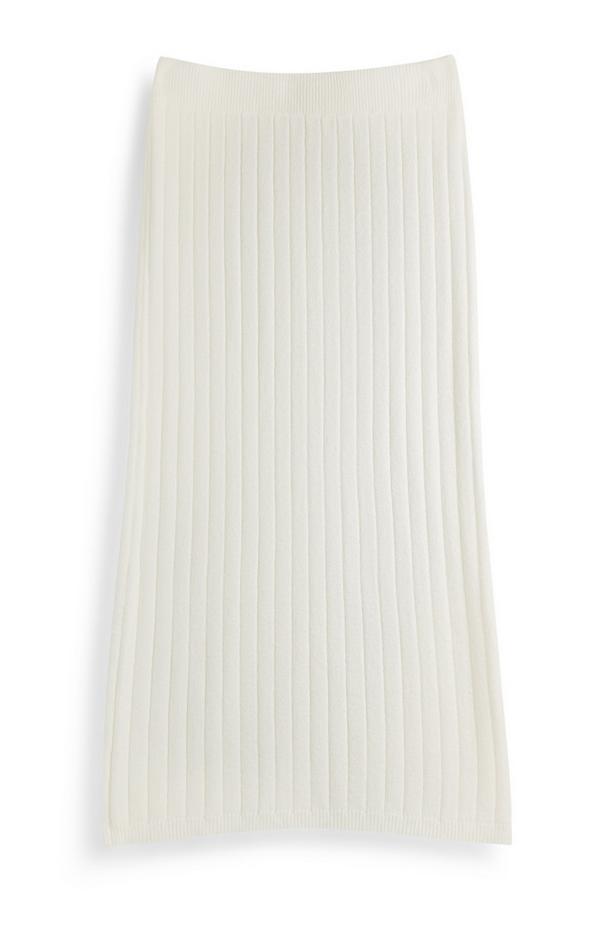 White Ribbed Skirt