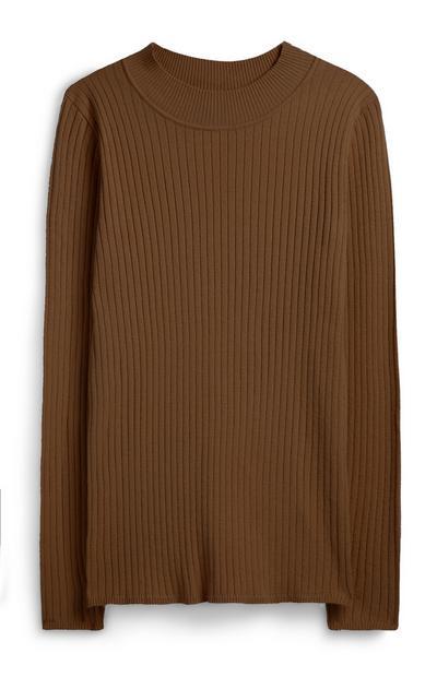 Jersey de canalé de cuello vuelto marrón