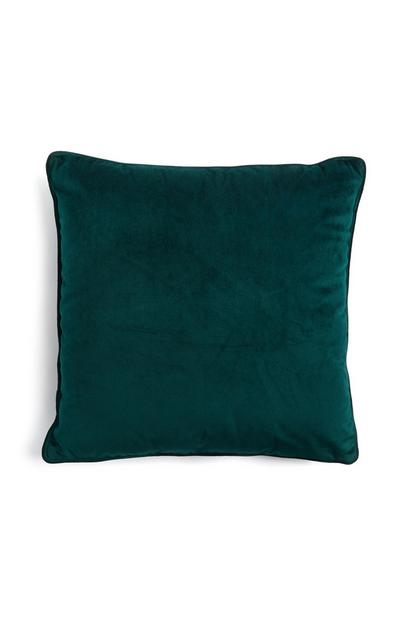 Green Velvet Square Pillow With Piped Lining