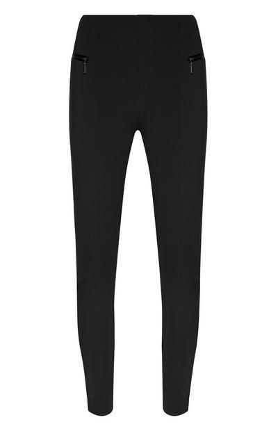 Schwarze Ponté-Leggings mit Reißverschlusstaschen