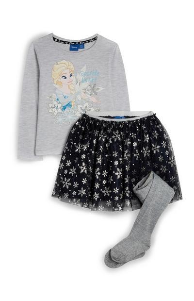 Komplet: krilo Ledeno kraljestvo in majica z Elzo za deklice