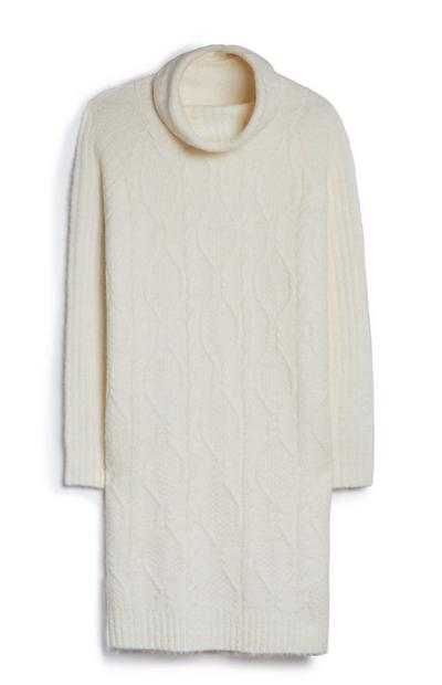 Cream Cable Roll Neck Dress