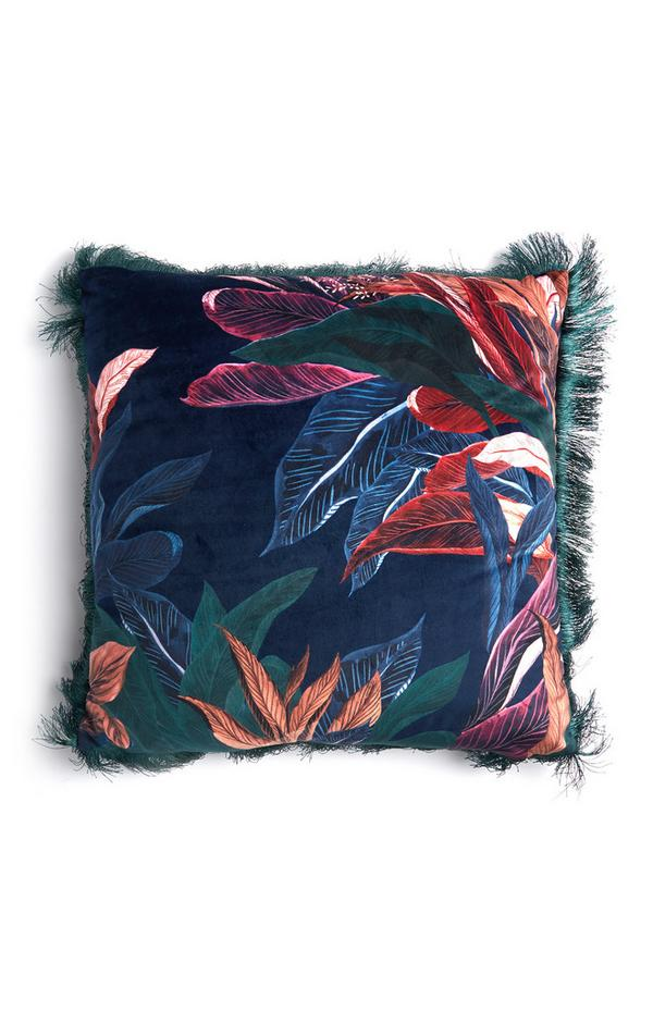 Blue Velvet Leaf Print Fringed Cushion