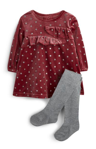 Robe en velours et collants bébé fille