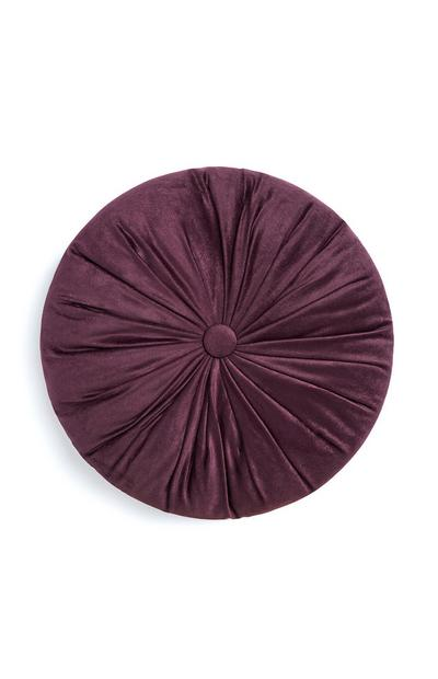 Coussin rond boutonné violet