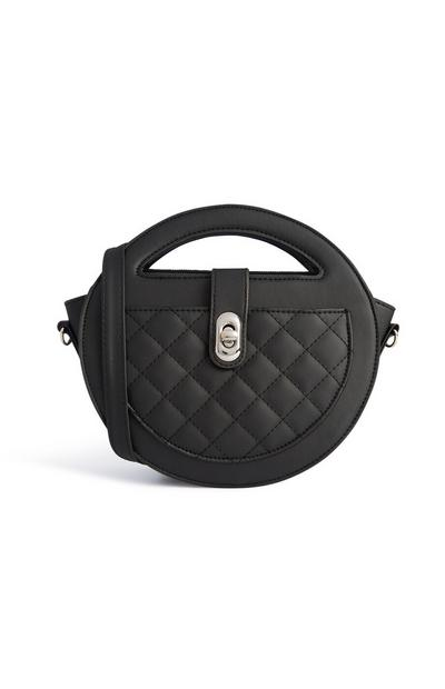 Črna prešita okrogla torbica