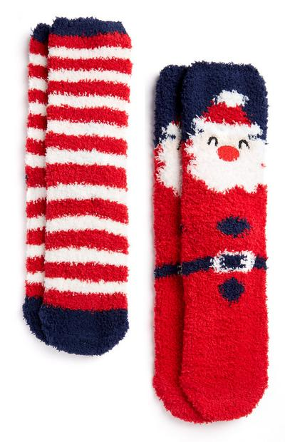 2-Pack Red Santa and Striped Cozy Socks