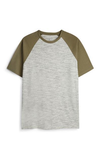 Majica z raglan rokavi kaki barve
