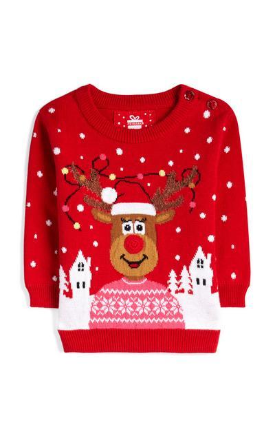 Maglione rosso natalizio da bimba